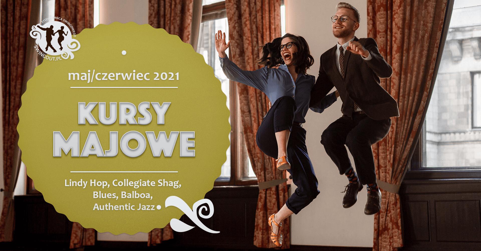 Tańcząca para w wyskoku - Lindy Hop w Warszawie